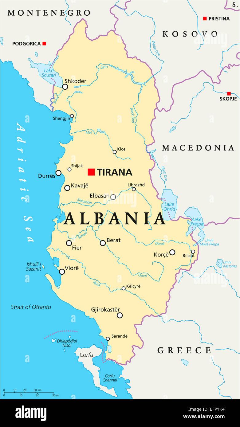 Albania Political Map with capital Tirana national borders Stock