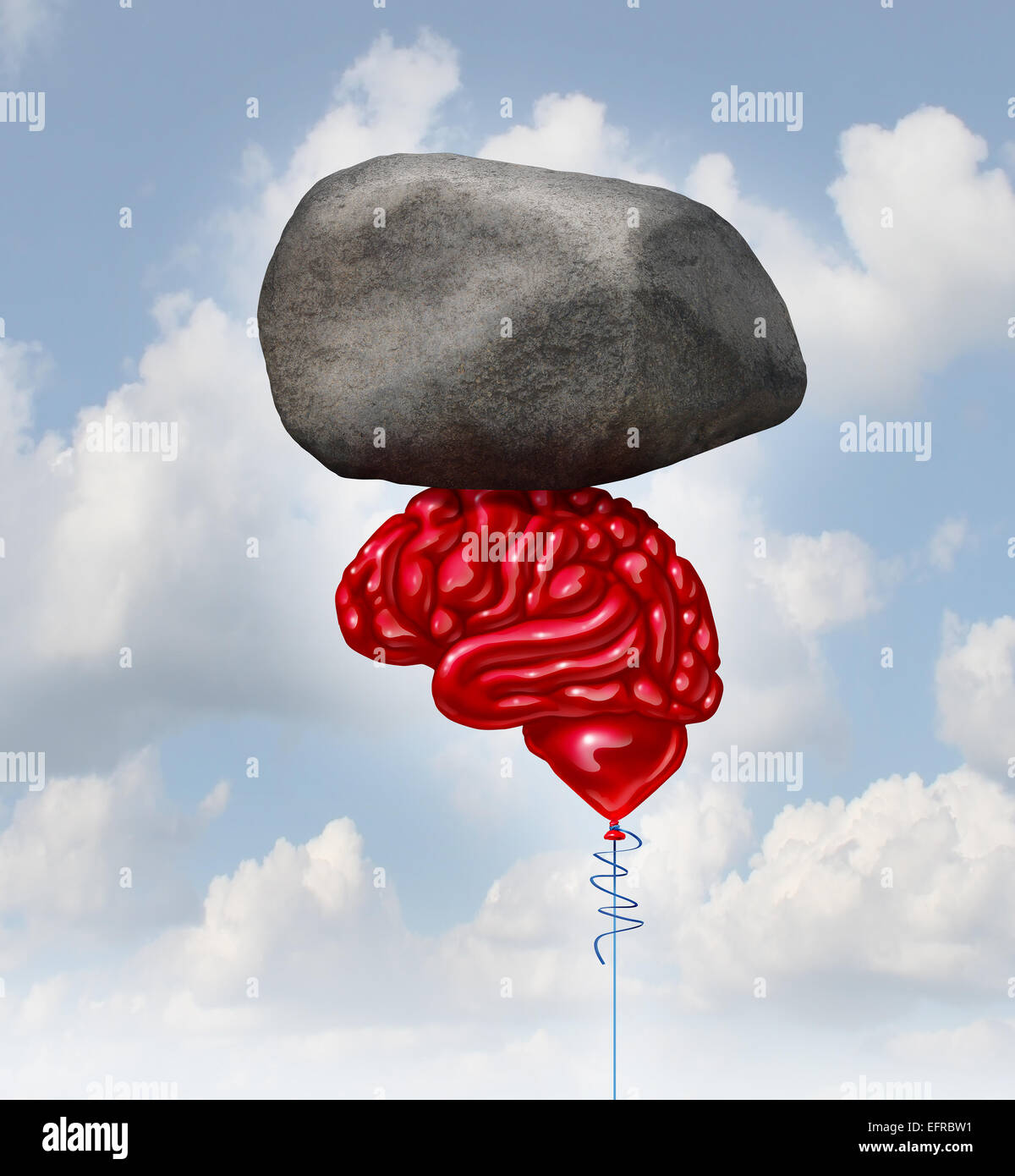 Brain power concept as a red balloon shaped as a human thinking organ lifting up a heavy rock as a symbol and mental - Stock Image