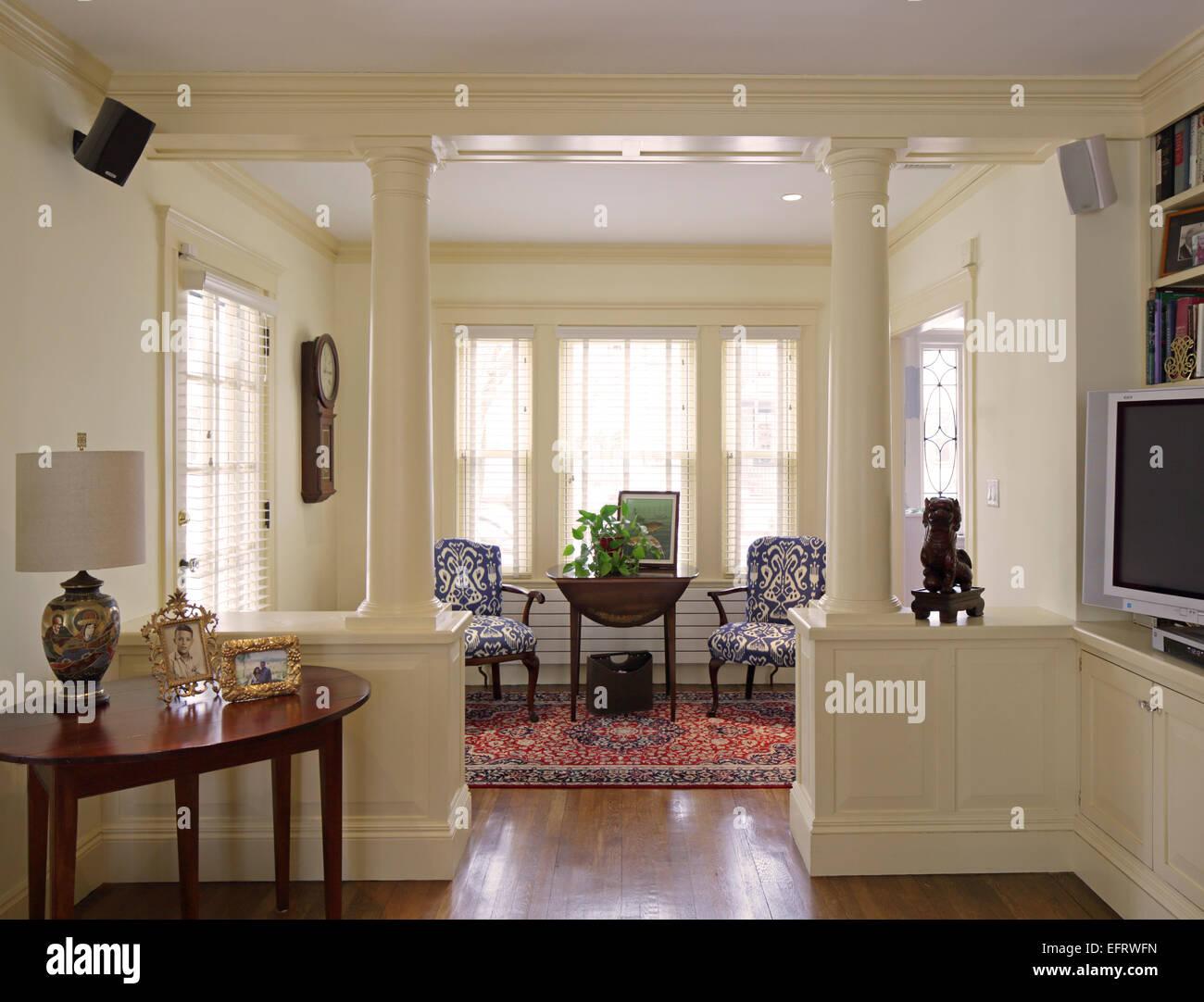 English American Country Home Interiors Jamaica Plain United Stock