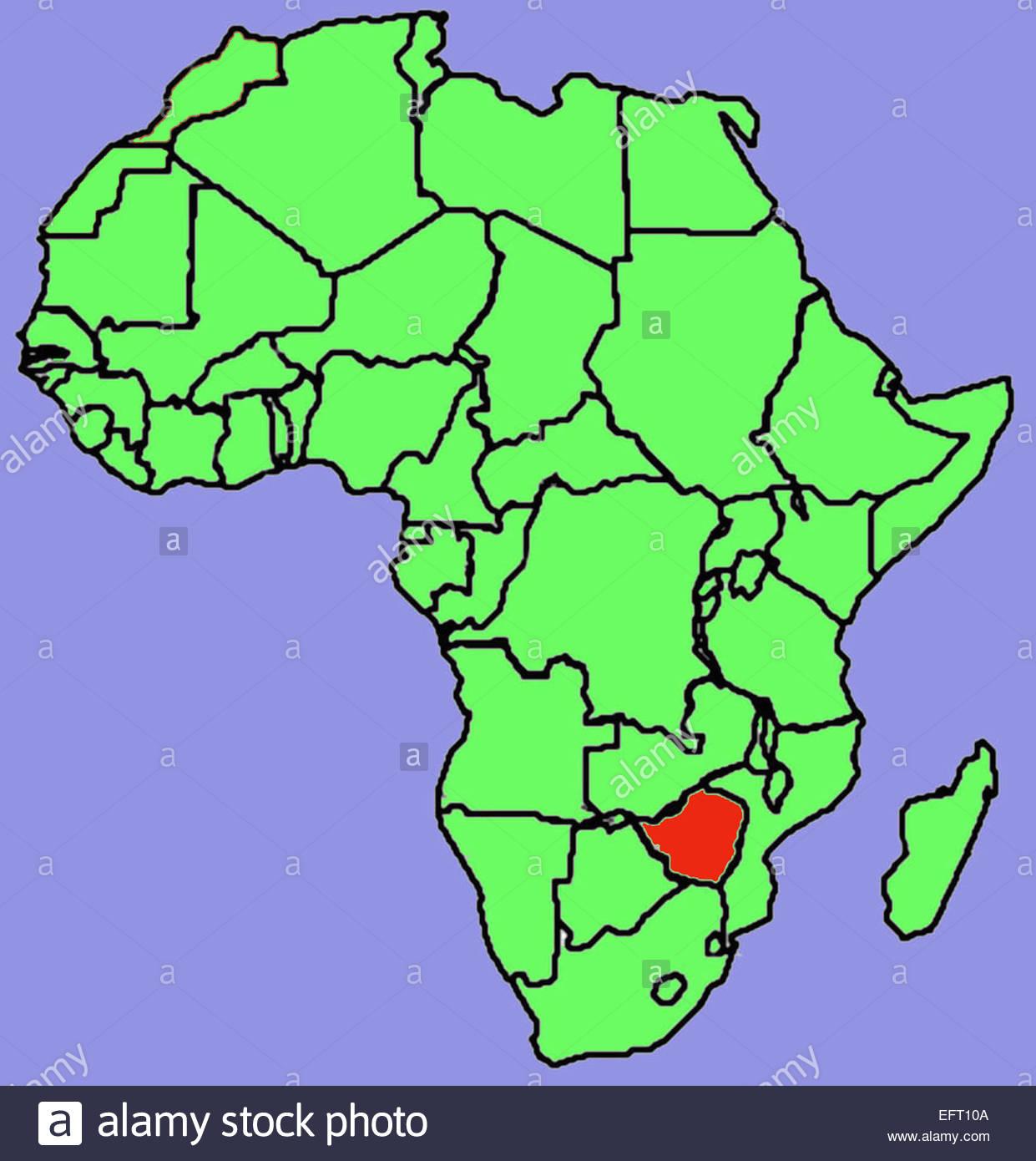 Map Of Africa Zimbabwe.Map Republic Of Zimbabwe Southern Africa Zwe African Continent Stock