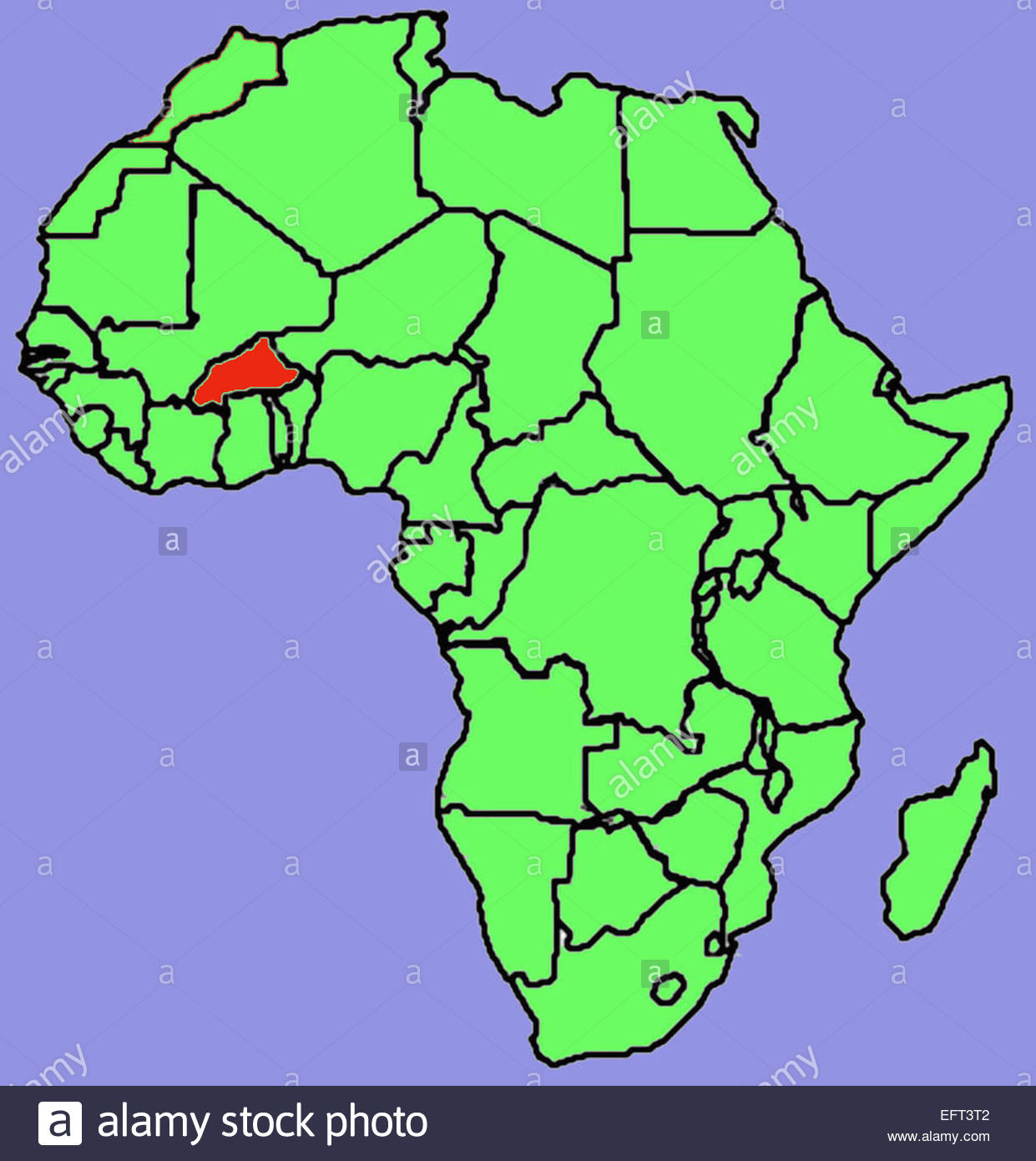 Map African Continent Green Red Burkina Faso Africa 2007 Nobody