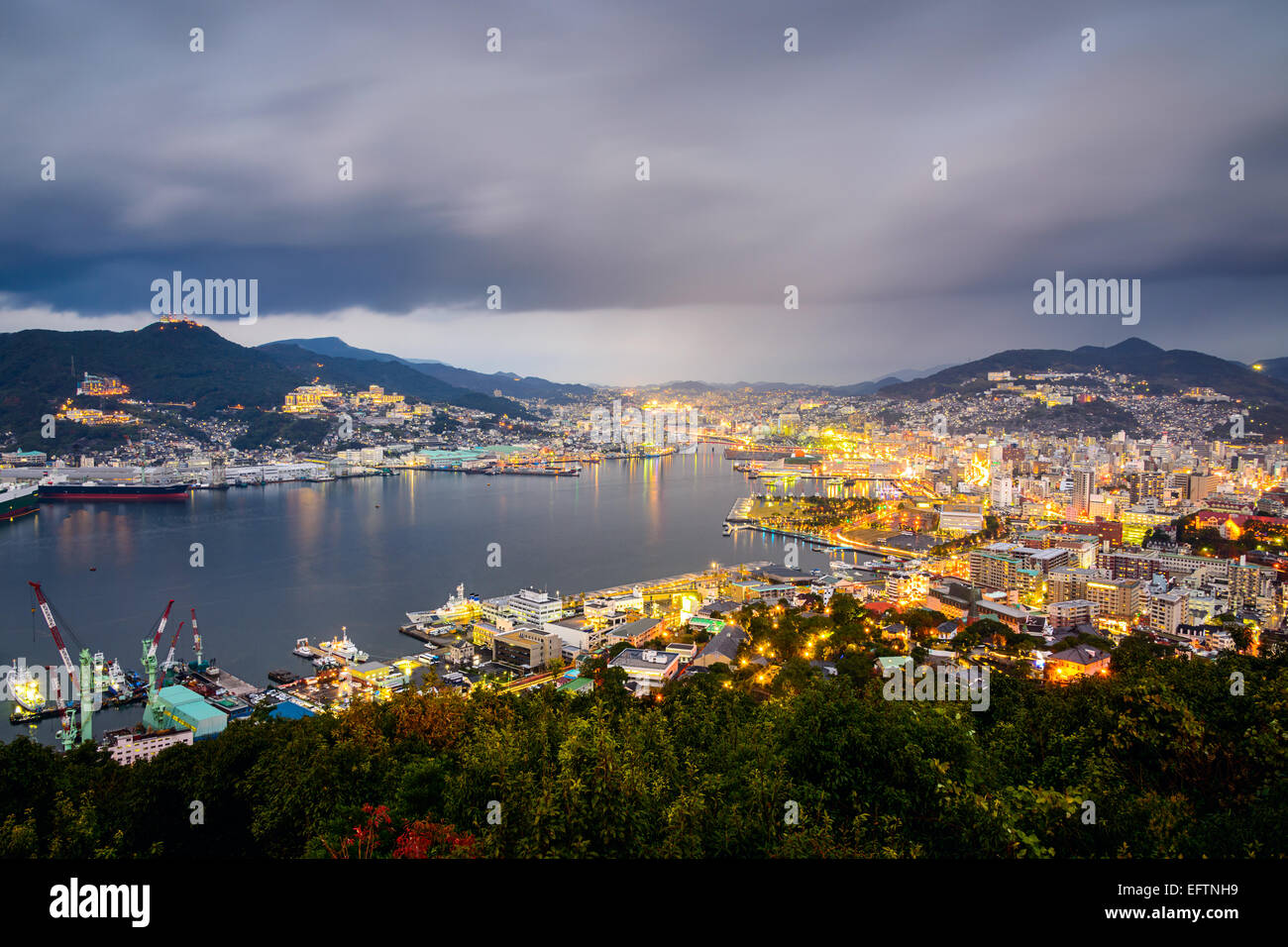 Nagasaki, Japan city skyline at the bay. - Stock Image