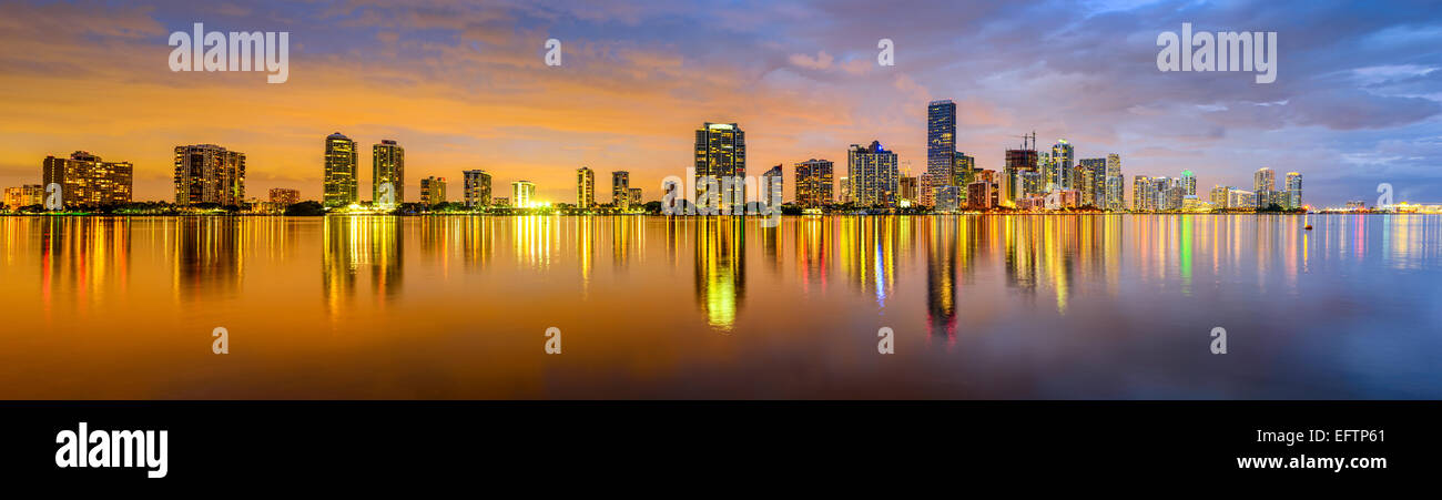 Miami, Florida, USA city skyline panorama. - Stock Image