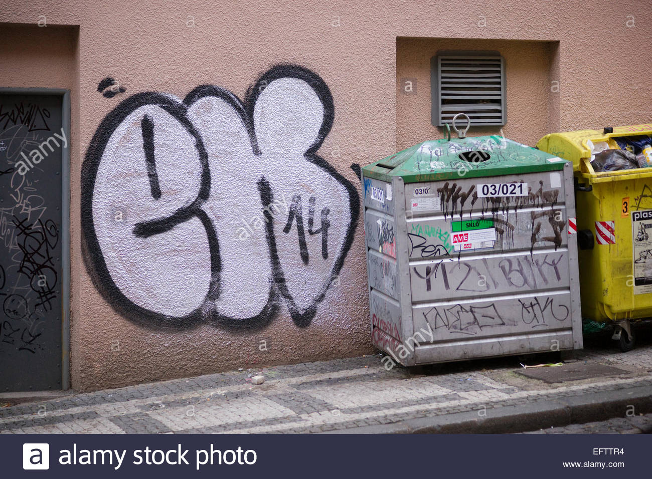 Prague Czech Republic Nobody Graffiti Vandalism Writing On Wall Street Art Architecture And Buildings Recycling Bins