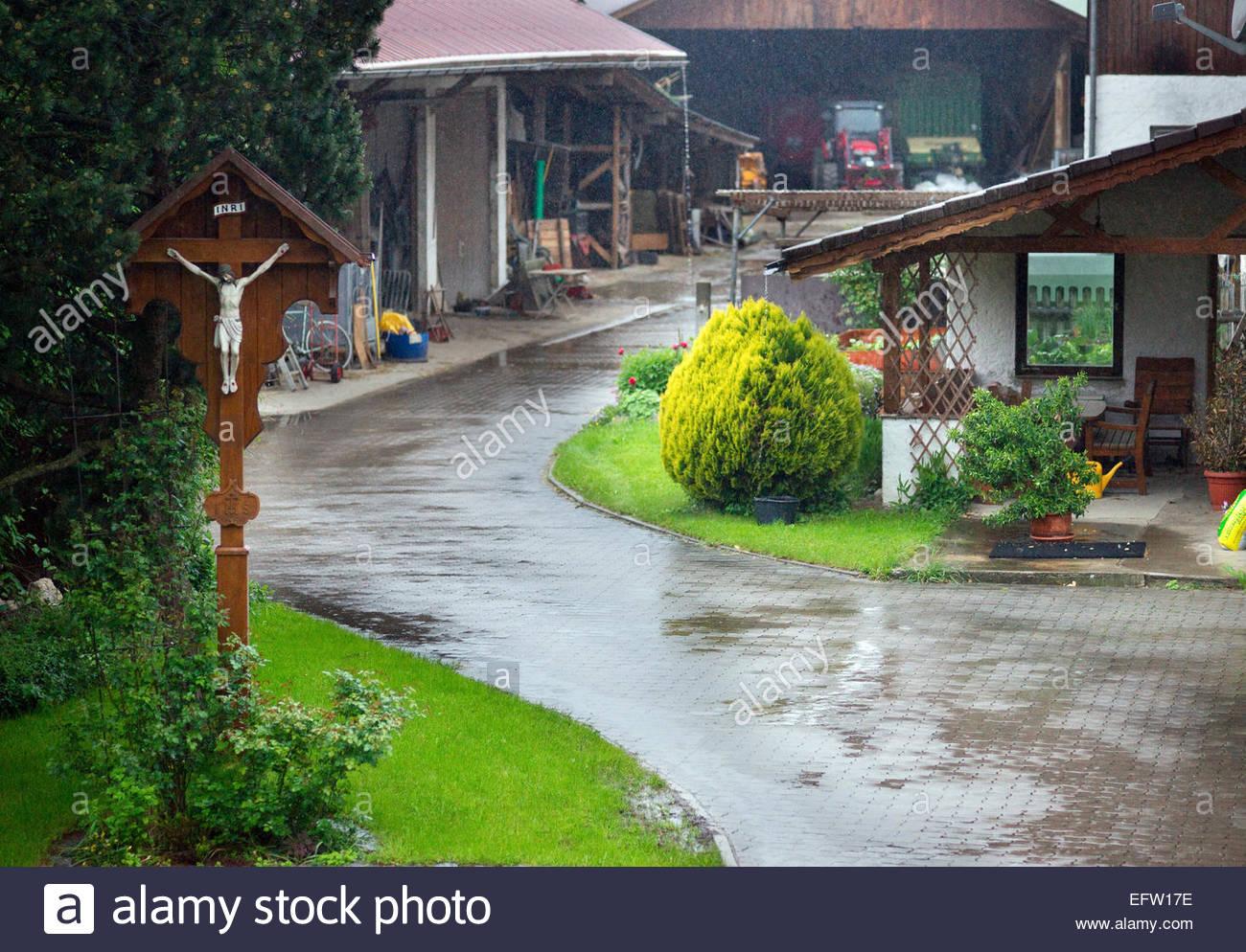4c7356a6cc Small German Village Raining Rain Farmhouses Germany é─∞ Federal Republic  of Germany Europe Deutschland DE DEU Bavaria Bayern N