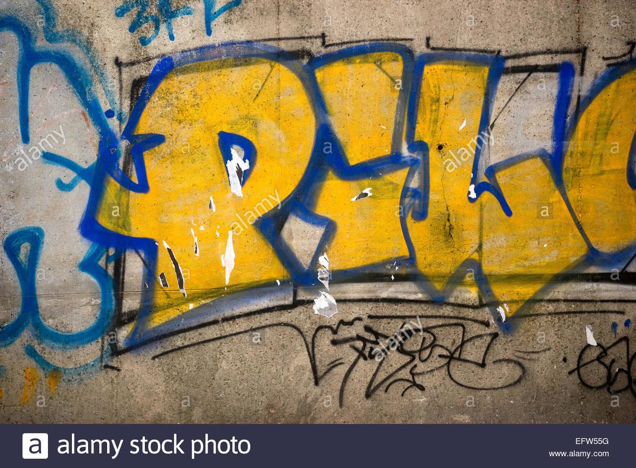 Paris Bagnolet area Graffiti Street Art Writing On Concrete Wall ...