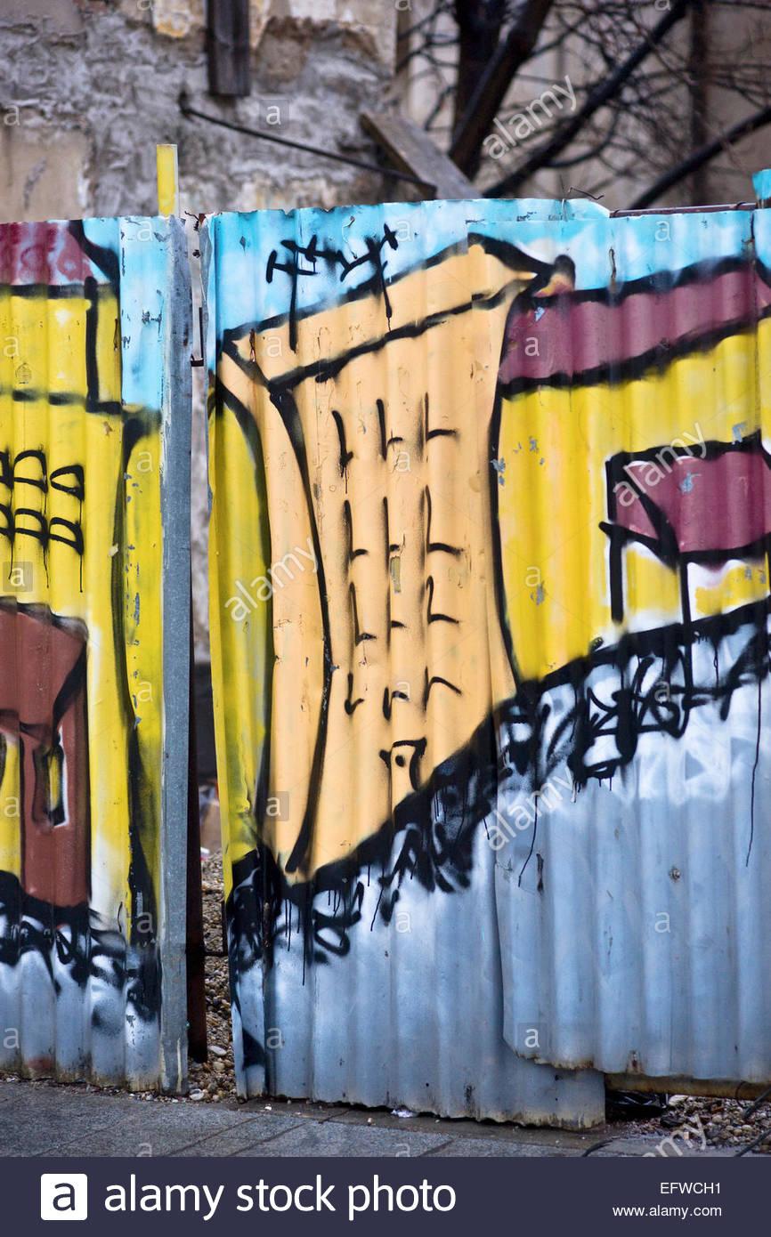 Nobody Graffiti Vandalism Art Painted Sheet Metal Galvanized ...