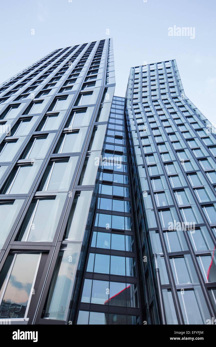 Dancing Towers, office towers on the Reeperbahn, architect Hadi Teherani, Hamburg, Germany - Stock Image