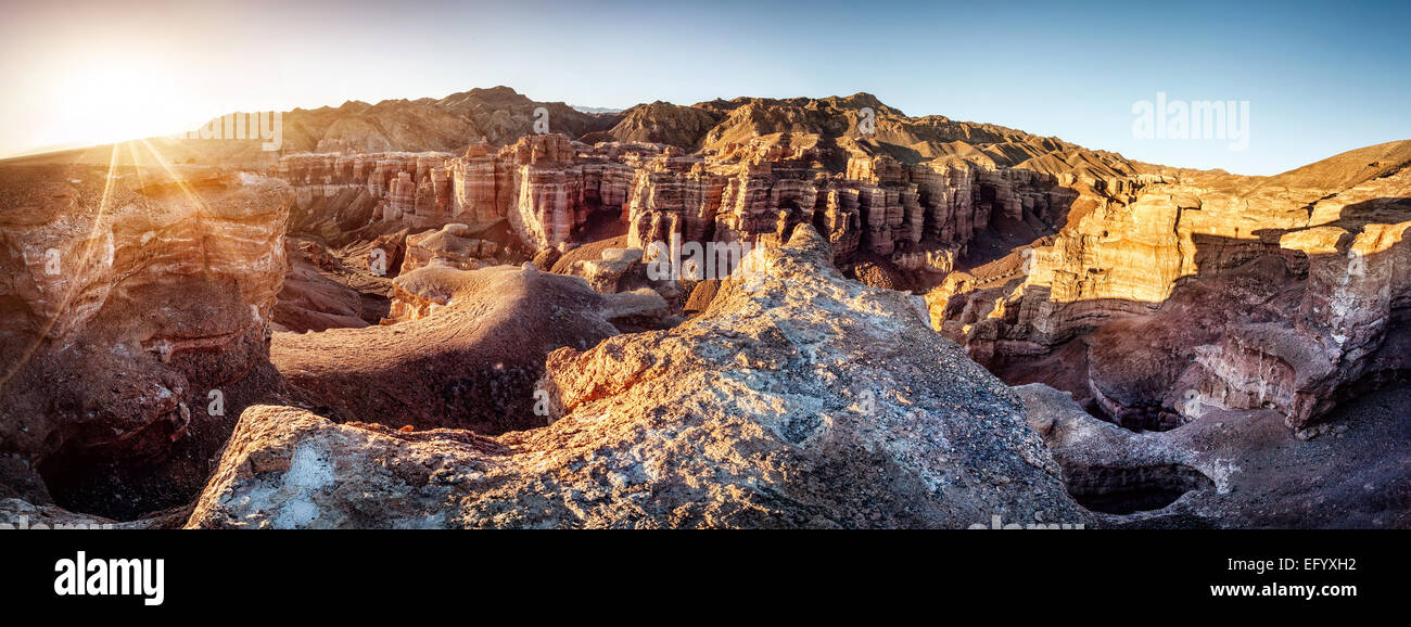 Charyn grand canyon at sunrise in Kazakhstan - Stock Image
