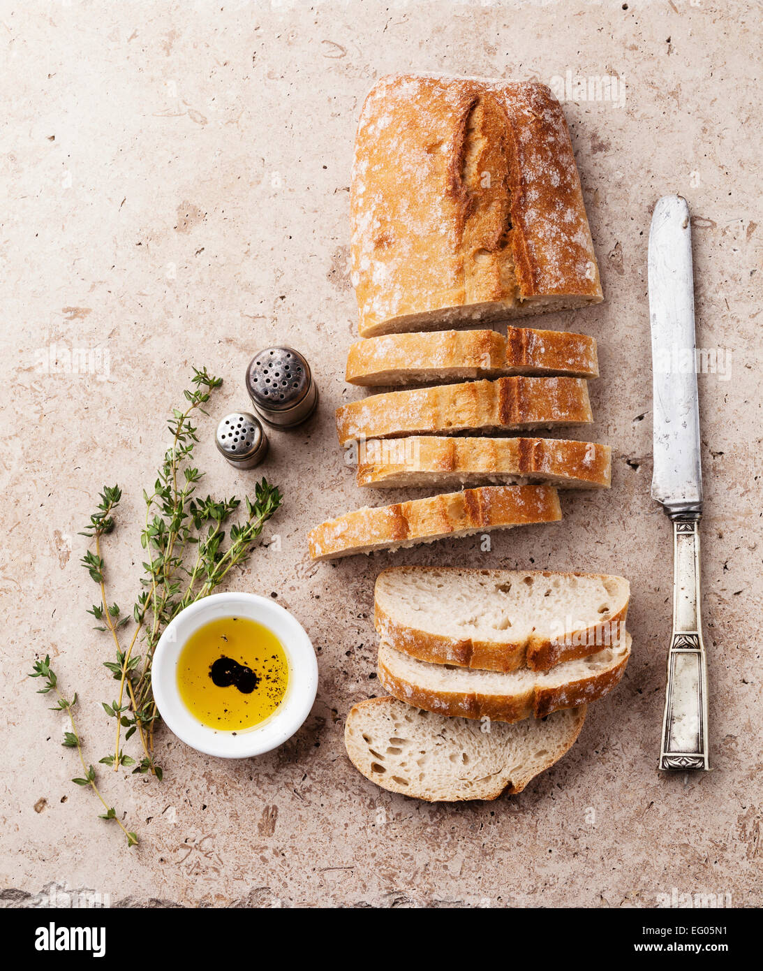 Fresh ciabatta with olive oil and thyme - Stock Image