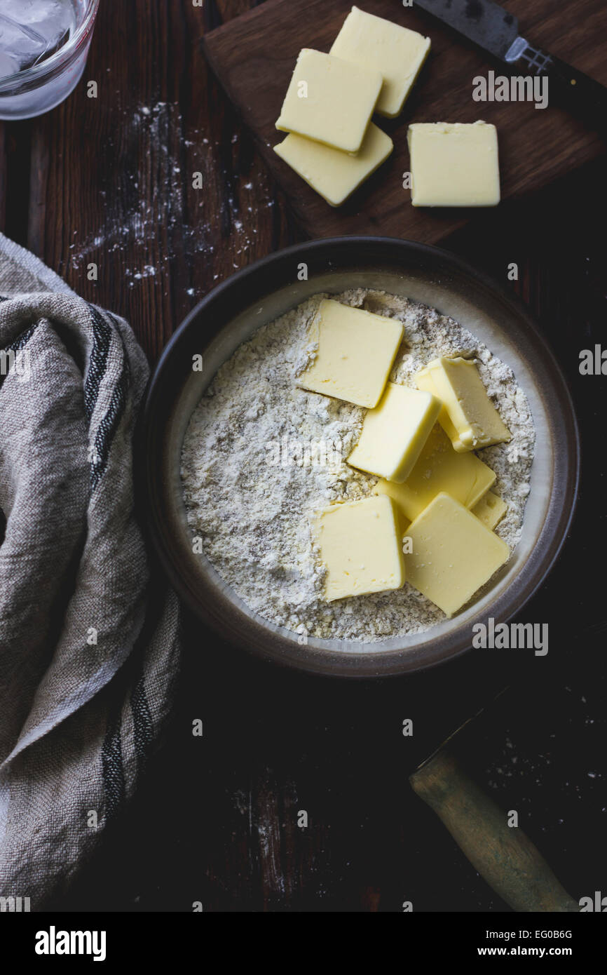 Butter and flour in a mixing bowl - Stock Image