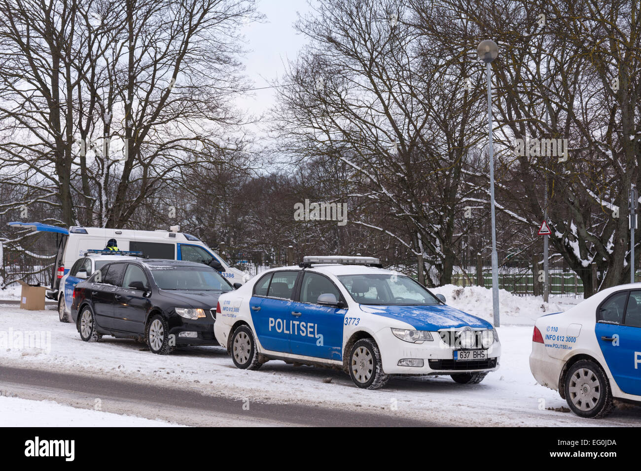 Estonian Police at Pohja puiestee in Tallinn Estonia Stock Photo