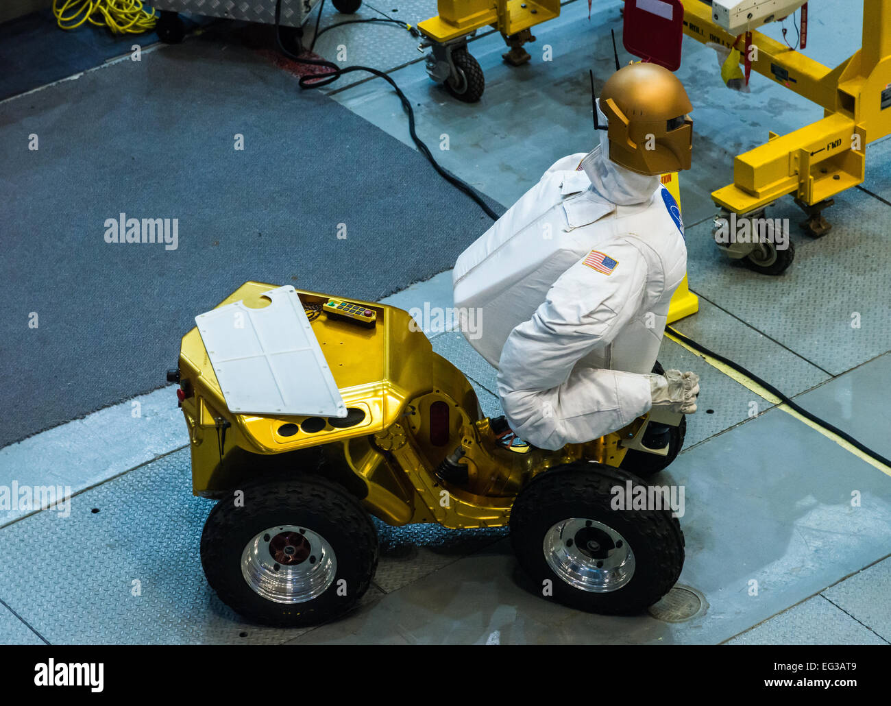 A human-like robot is tested inside a facility at NASA Johnson Space Center, Houston, Texas, USA. - Stock Image