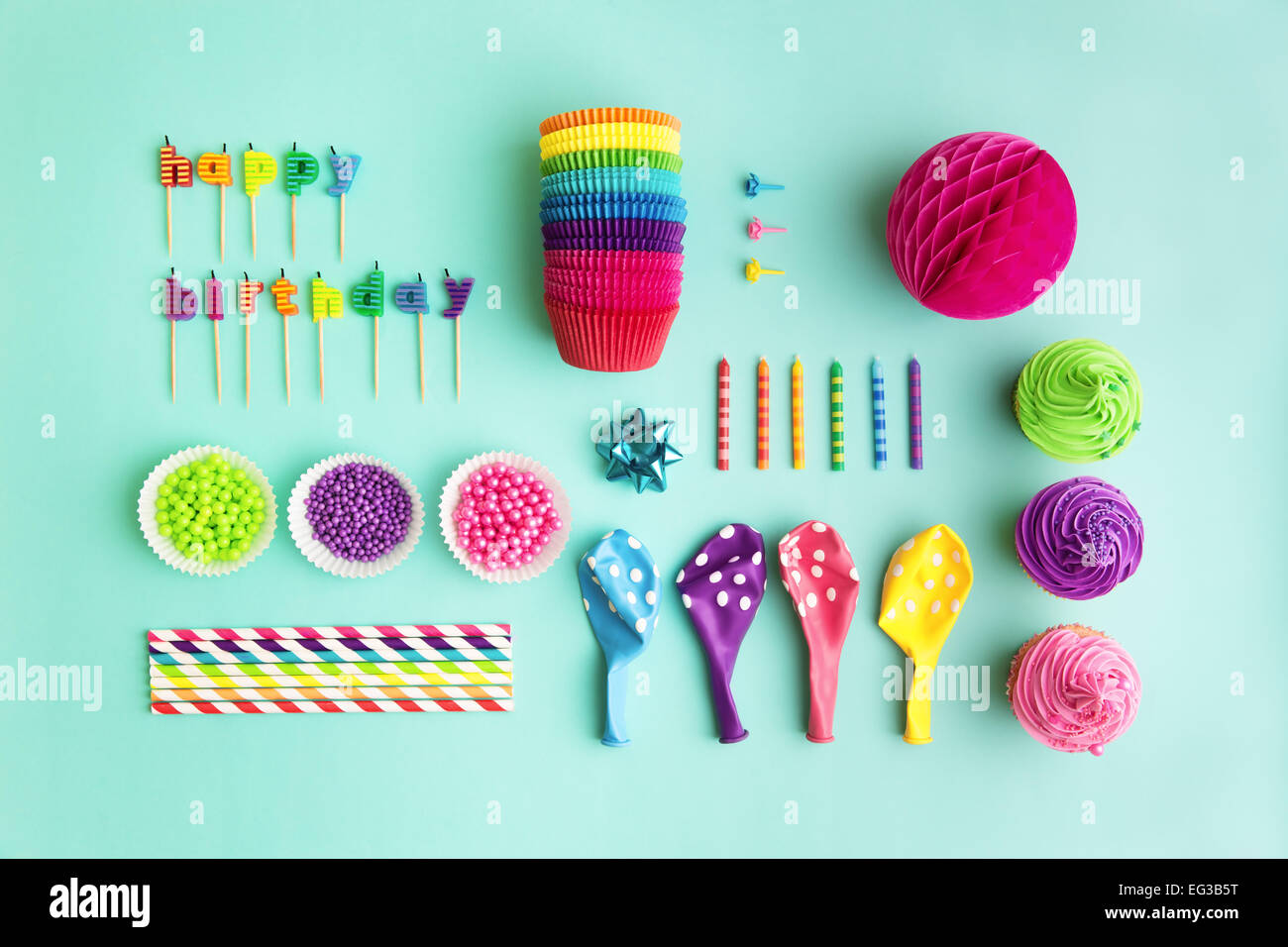 Overhead view of birthday party object collection Stock Photo