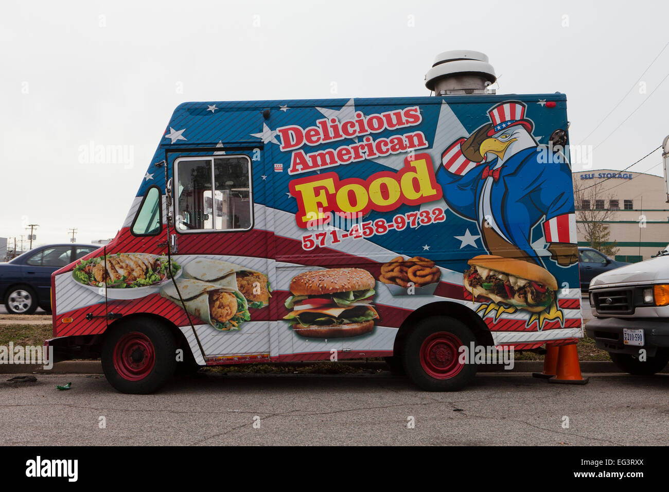 American food food truck - USA - Stock Image