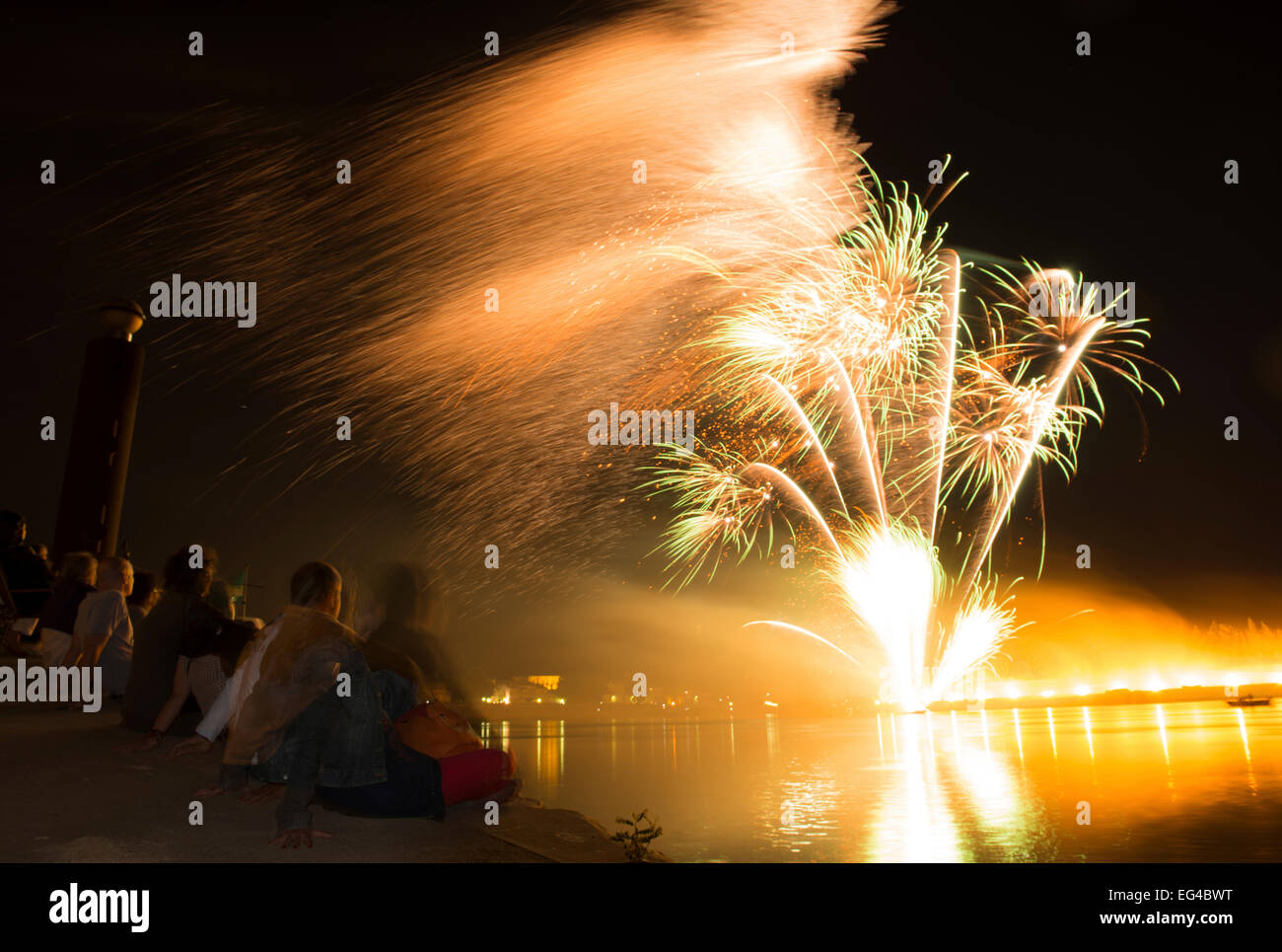 Firework in Arles over the Rhone Camargue France July 2012. - Stock Image