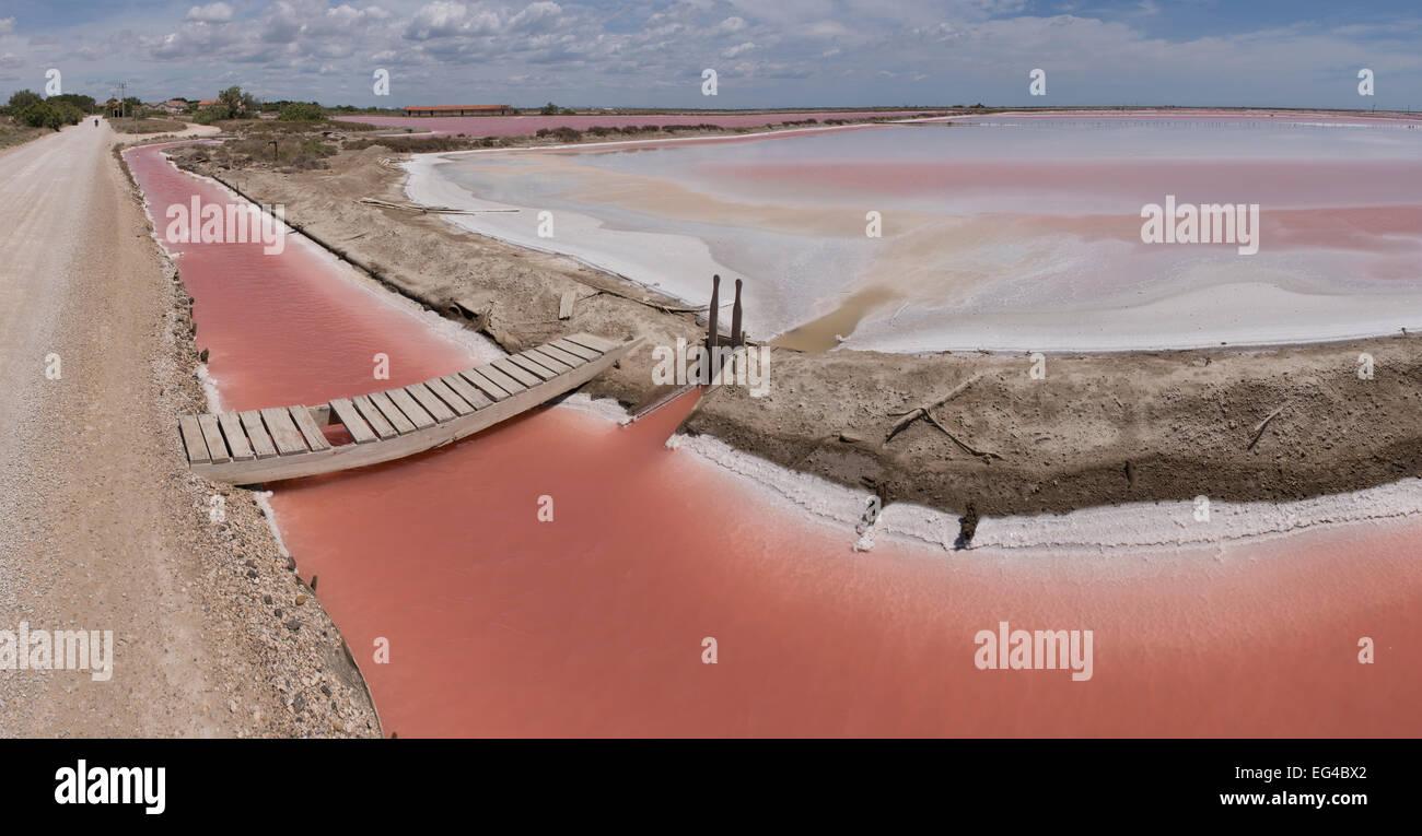 Salt pans high salt concentration. Salin de Giraud Camargue France June 2013. - Stock Image