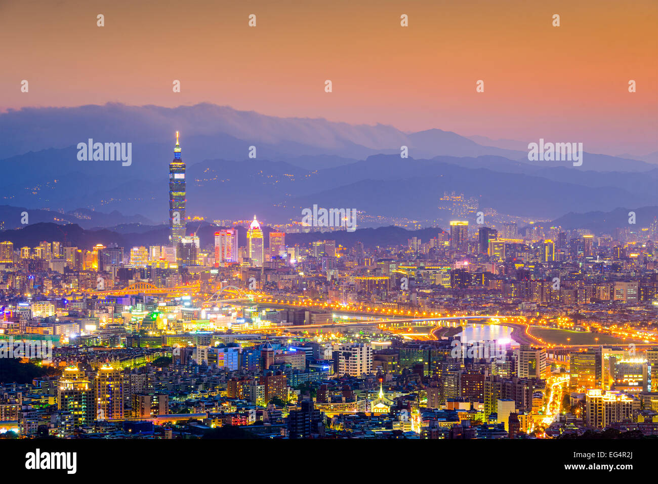 Taipei, Taiwan Cityscape from Neihu District. - Stock Image