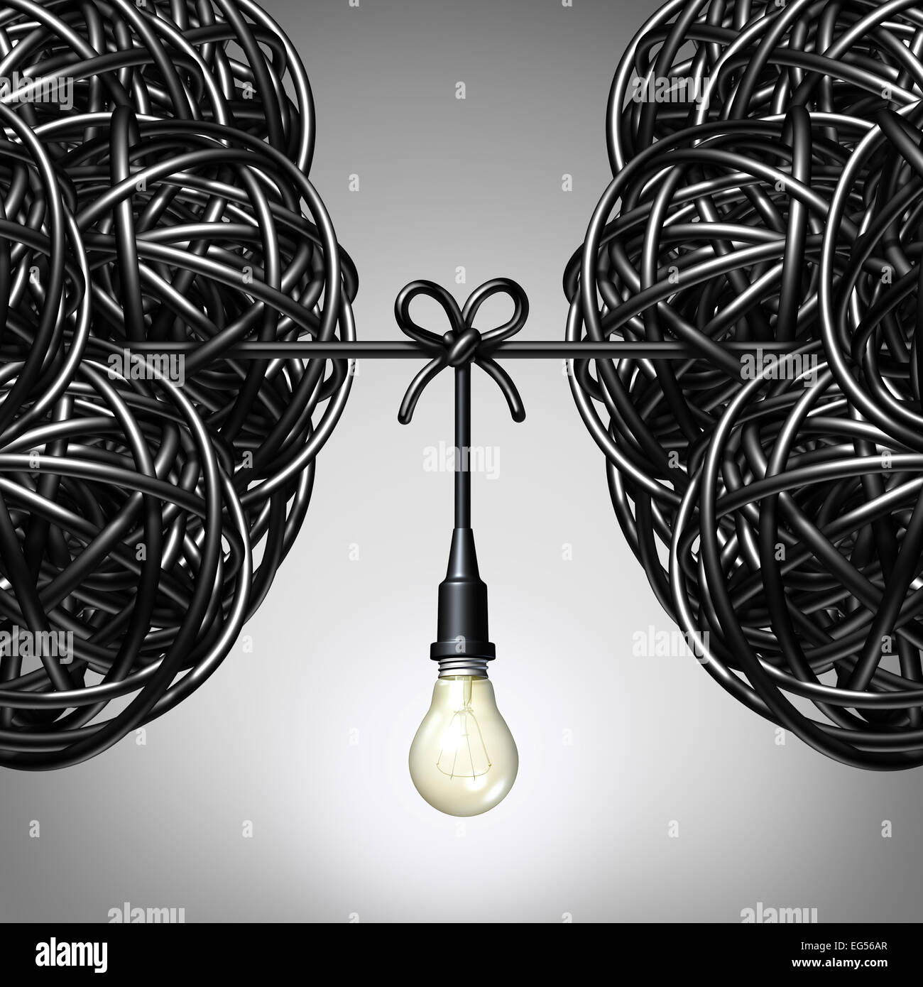 Team ideas and collaboration concept as two groups of tangled electric cord or wire with a light bulb connection - Stock Image