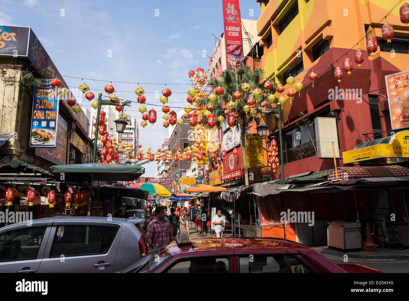Chinatown in Kuala Lumpur decorated for the Chinese New Year celebrations, Malaysia. - Stock Image