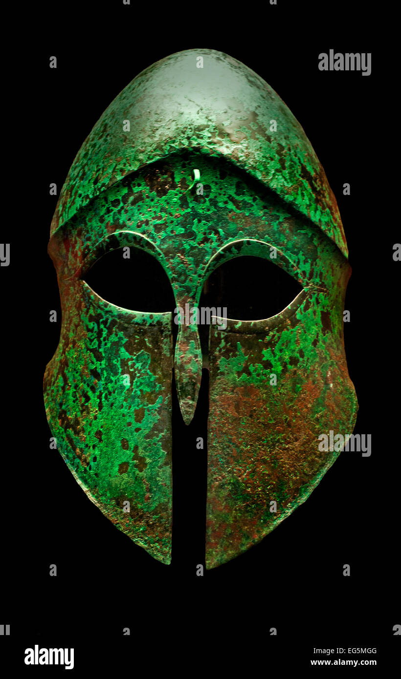 Corinthian helmet 5th Century BC Greek Greece ( Staatliche Antikensammlungen Munich Germany ) Stock Photo