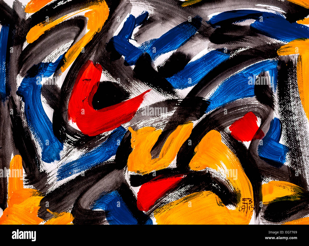 """Modern abstract acrylic painting """"Stained glass"""" by Ed Buziak - France. Stock Photo"""