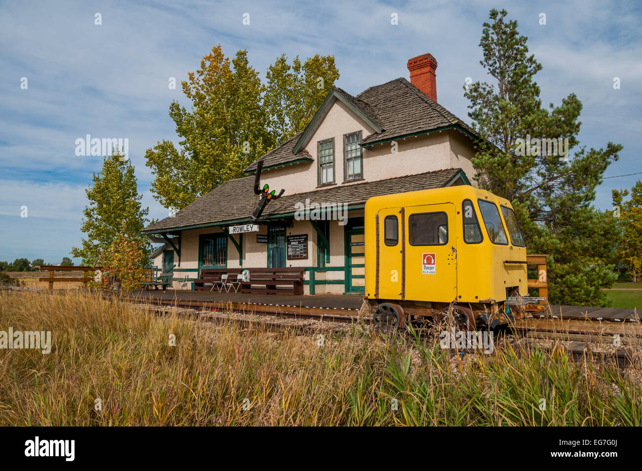 Heritage Train Station, Rowley, Alberta, Canada - Stock Image