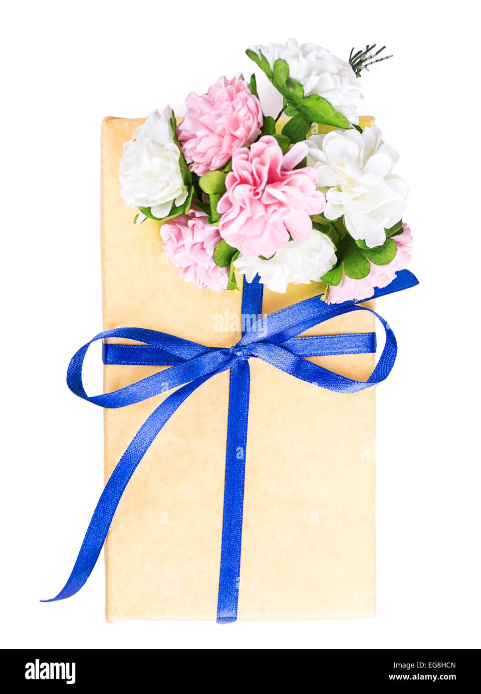 Flowers Gift Box Yellow Blue Isolated On White Background