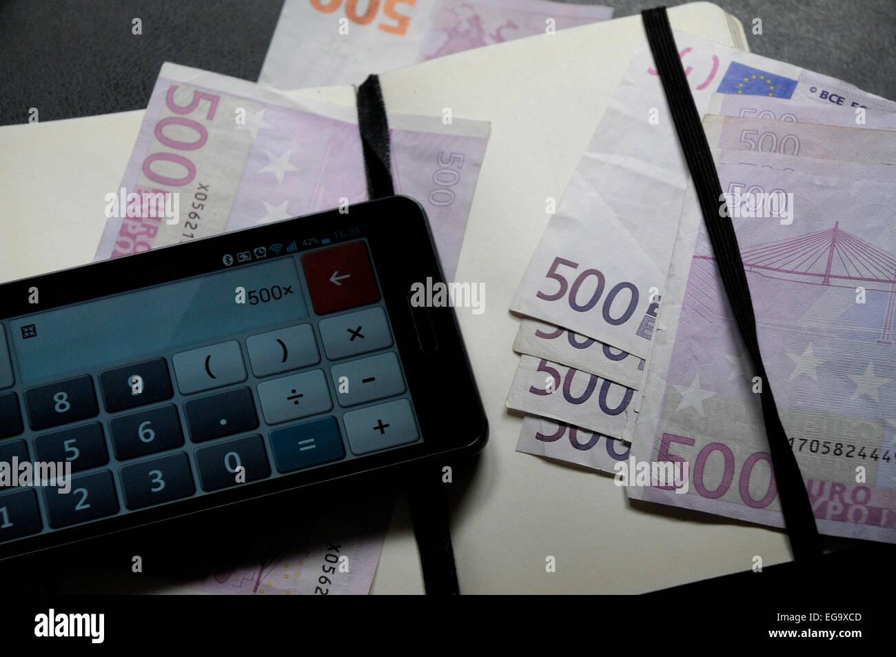3000 euros on 500 euros six times money EEC, CEE - Stock Image