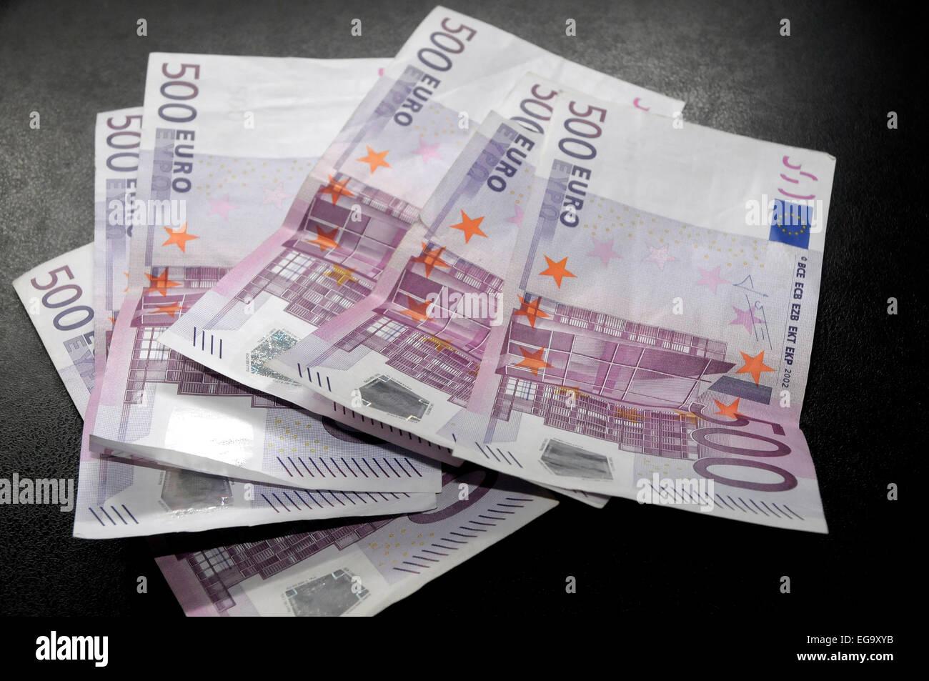 3000 euros with 500 euros six times money EEC, CEE, € - Stock Image