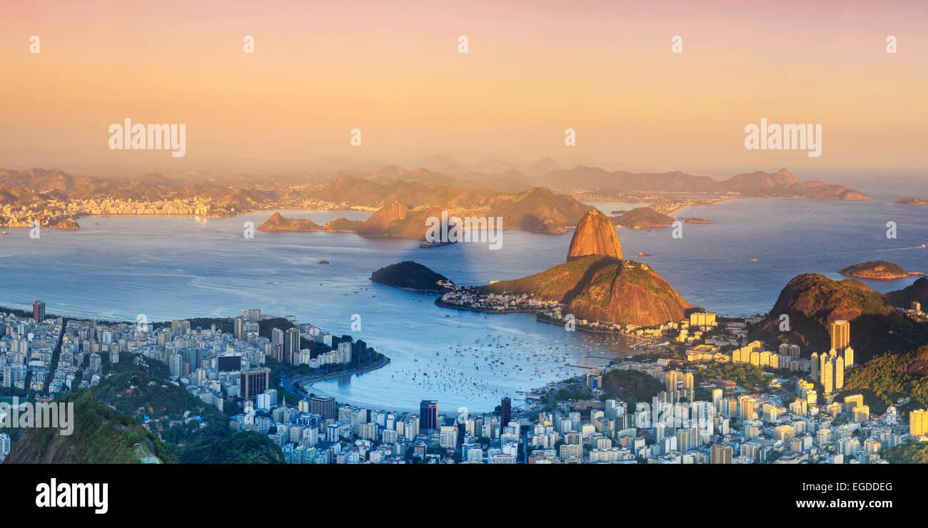 Brazil, Rio de Janeiro, View of Sugarloaf and Rio de Janeiro City - Stock Image