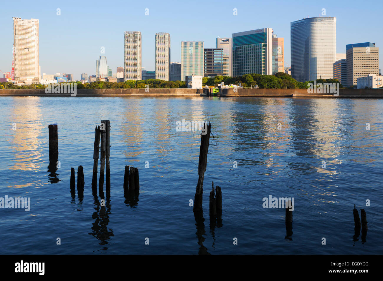 View over Sumida River of skyscrapers, Tokyo, Japan - Stock Image