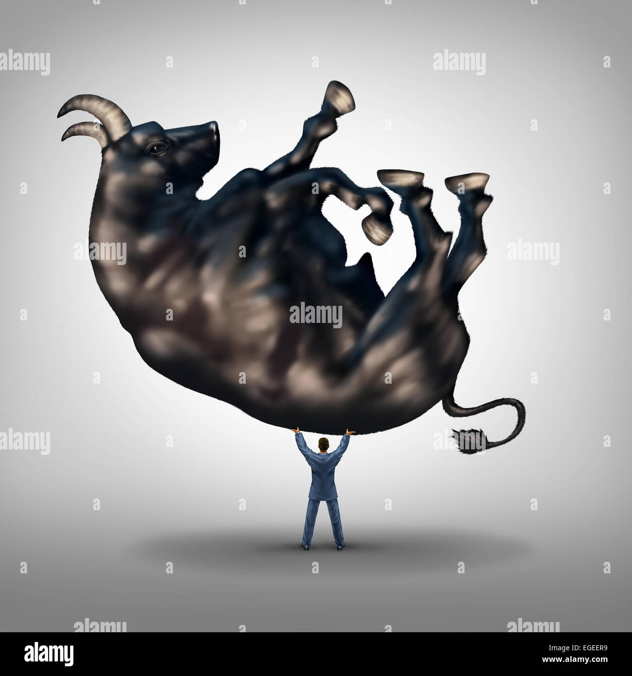 Investing solutions and financial leadership symbol and business success concept as a take charge businessman lifting - Stock Image