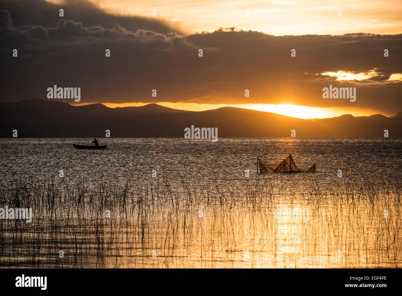 Sunset over Lake Titicaca, Copacabana, Lake Titicaca, Bolivia - Stock Image