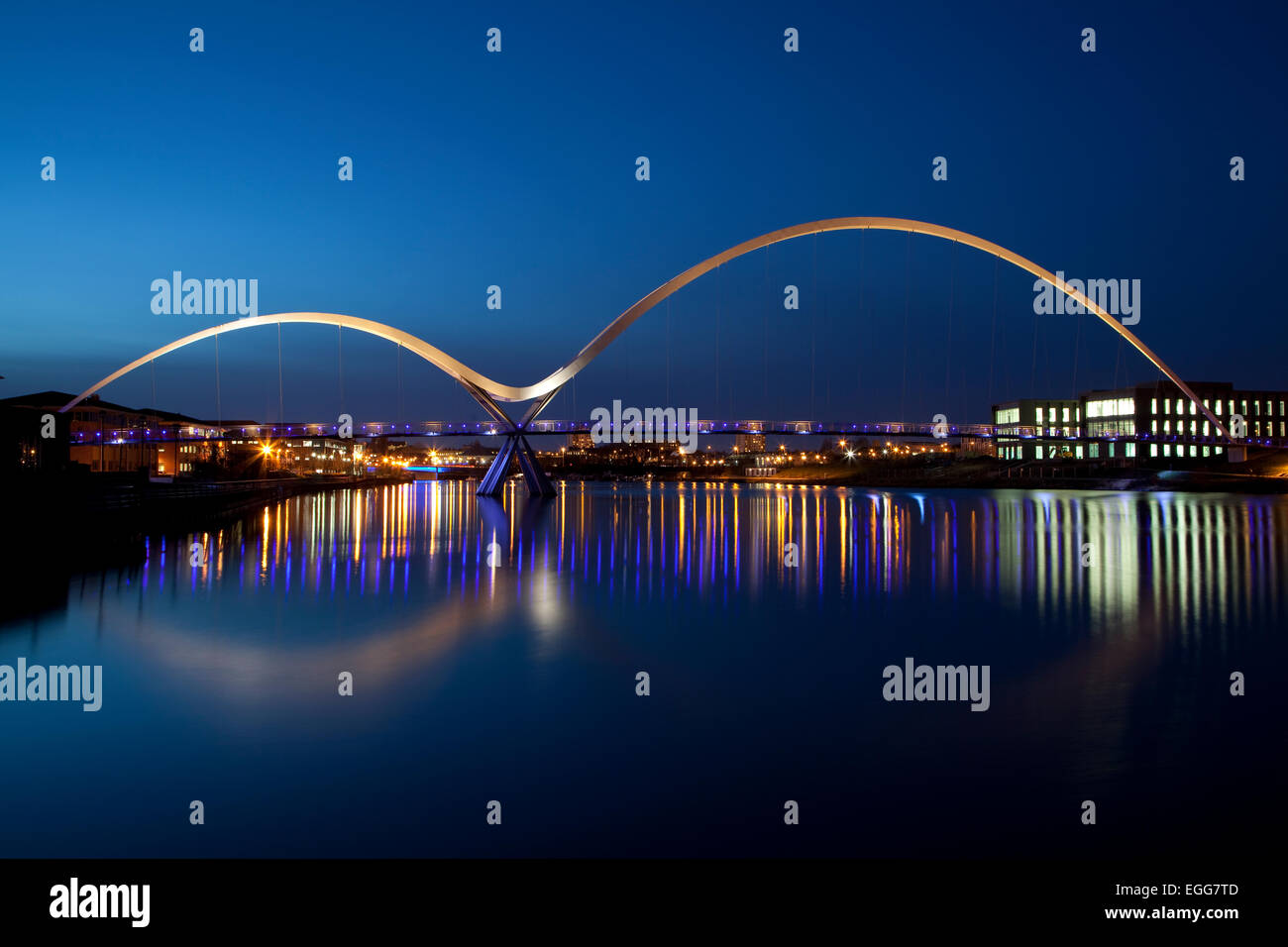 The Infinity Bridge at Stockton-on-Tees, England, at night Stock Photo