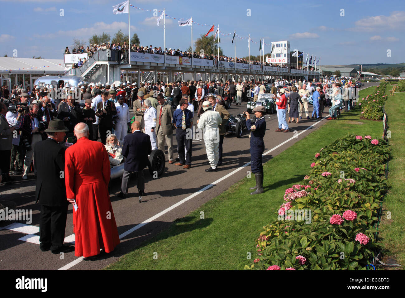 Crowded starting grid prior to the parade of Goodwood Legends / Goodwood Revival / Goodwood / UK - Stock Image