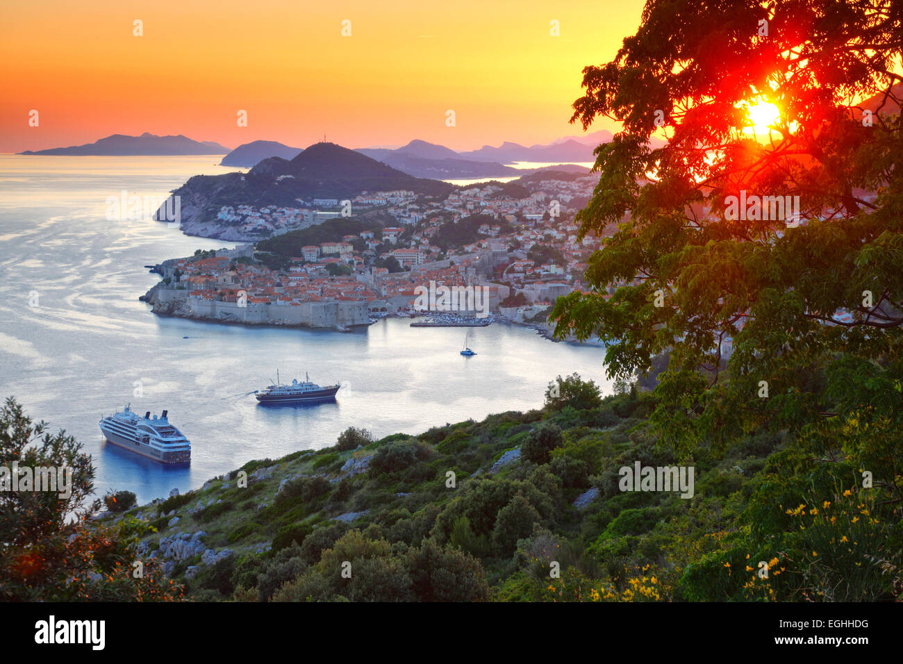 Panorama of old town Dubrovnik in sunset, Croatia. - Stock Image