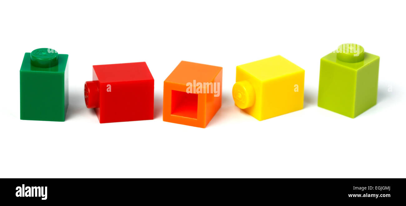 1 x 1 Lego bricks in different colours. The most molded Lego brick in 2013 . 3.15 billion of this brick was produced Stock Photo
