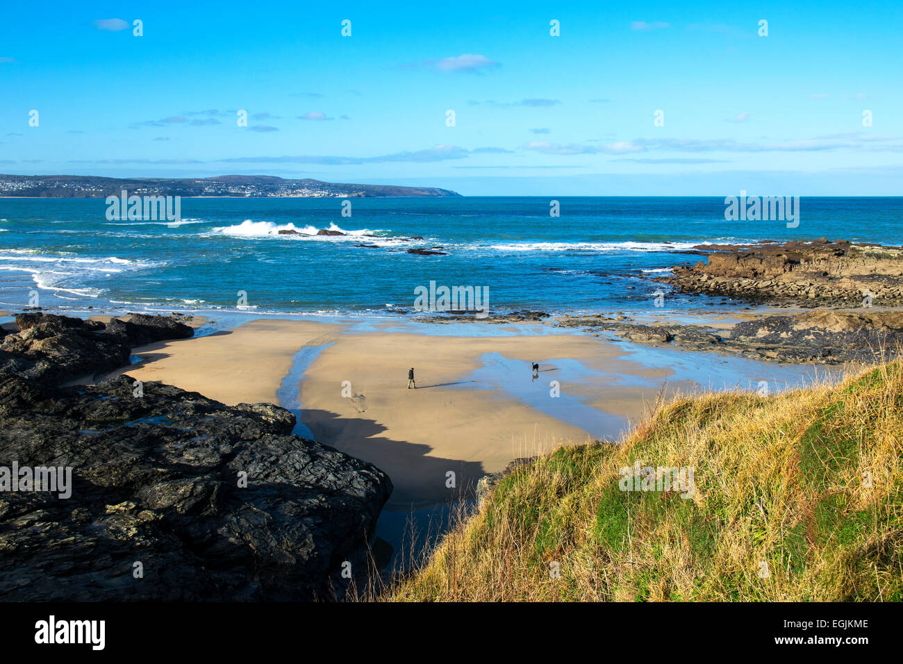 beach at godrevy in cornwall, uk Stock Photo