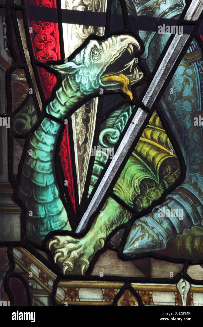 Stained glass window detail, St. Mary's Parish Church, Woodbridge, Suffolk - Stock Image