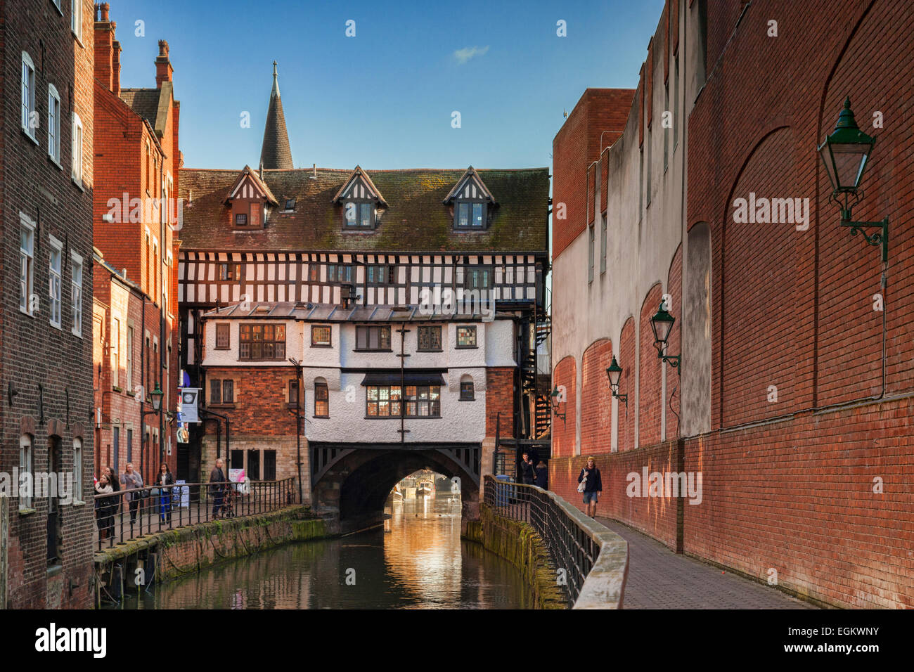 The High Bridge, Lincoln, is the oldest bridge in the UK which still has buildings on it. It was built in 1160, Stock Photo