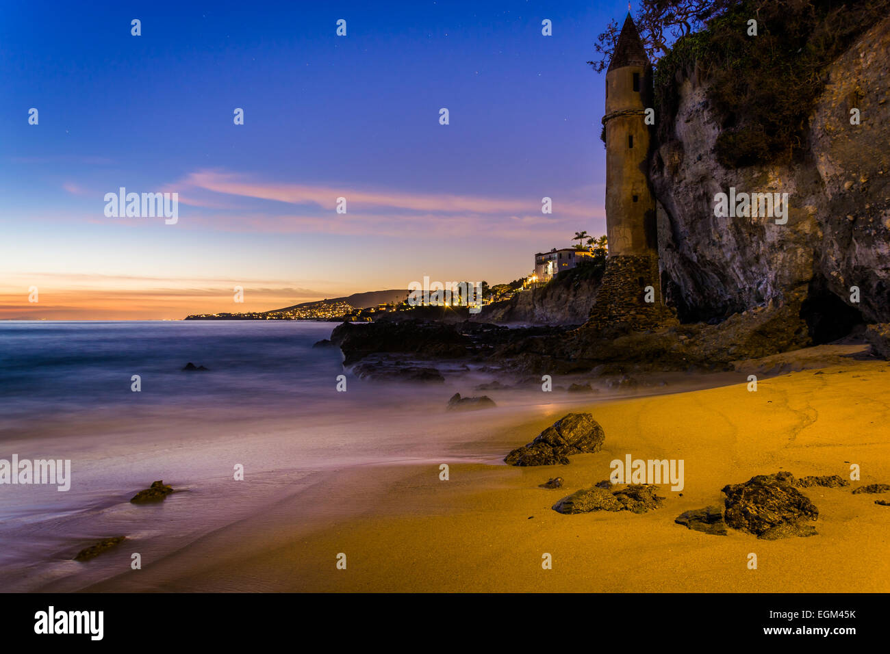 Victoria Tower at sunset, at Victoria Beach, Laguna Beach, California. Stock Photo