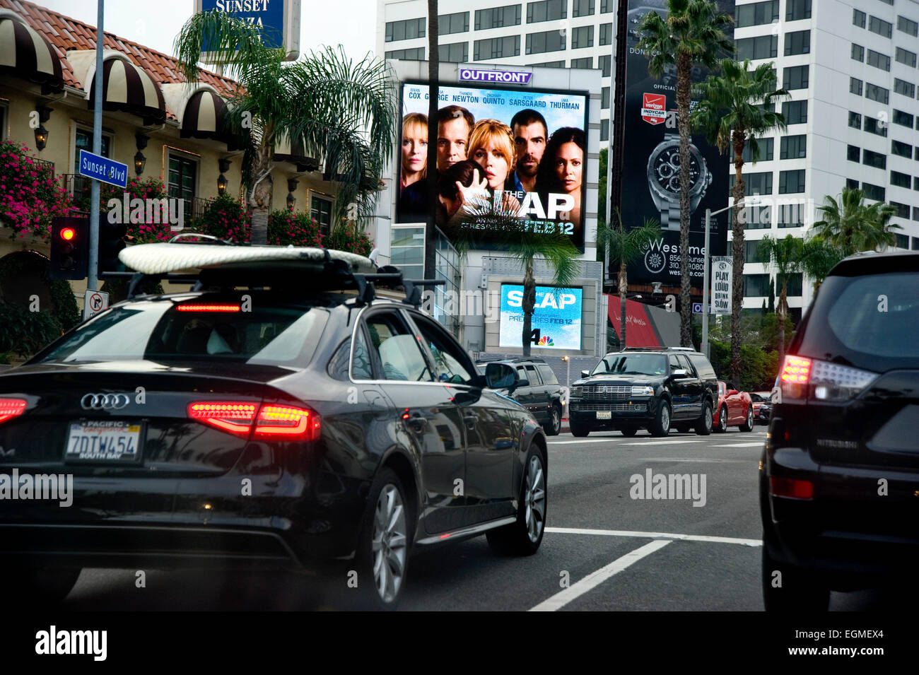 Digital billboards on the Sunset Strip - Stock Image