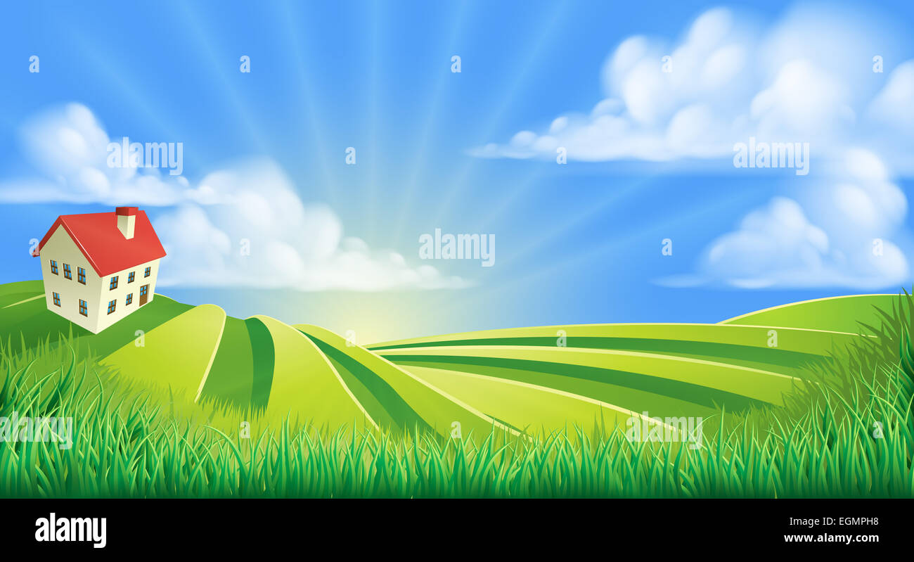 A rolling hills fields farm sunrise background cartoon illustration ... for Farm Field Cartoon  104xkb