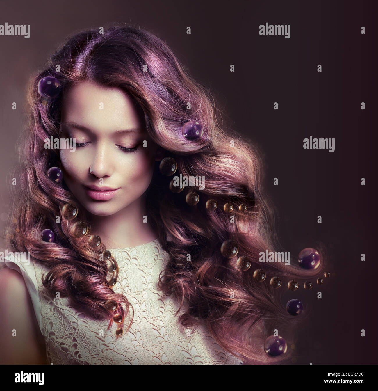 Beauty Portrait of Young Woman with Flowing Hairs - Stock Image