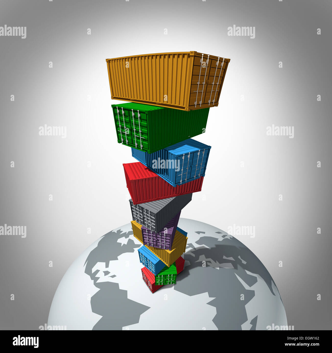 Global cargo transportation concept as a high stack of transport containers towering over the planet as a symbol - Stock Image