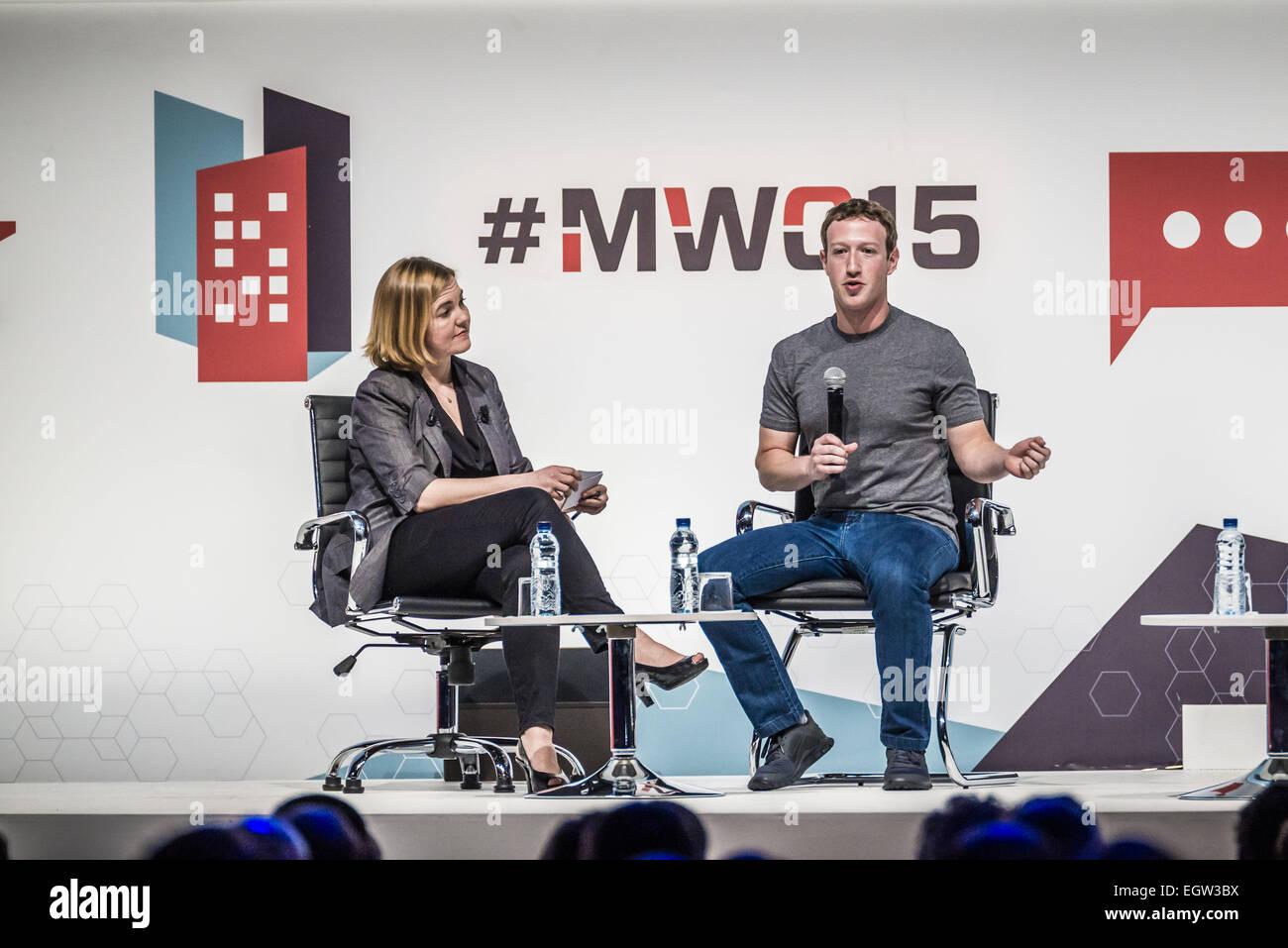 Barcelona, Catalonia, Spain. 2nd Mar, 2015. Mark Zuckerberg, founder ...
