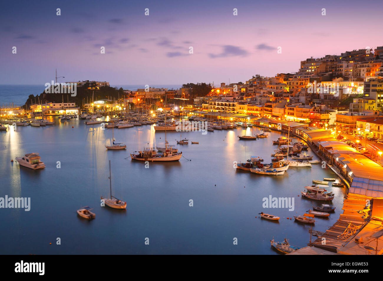 Evening in Mikrolimano marina in Athens, Greece. - Stock Image