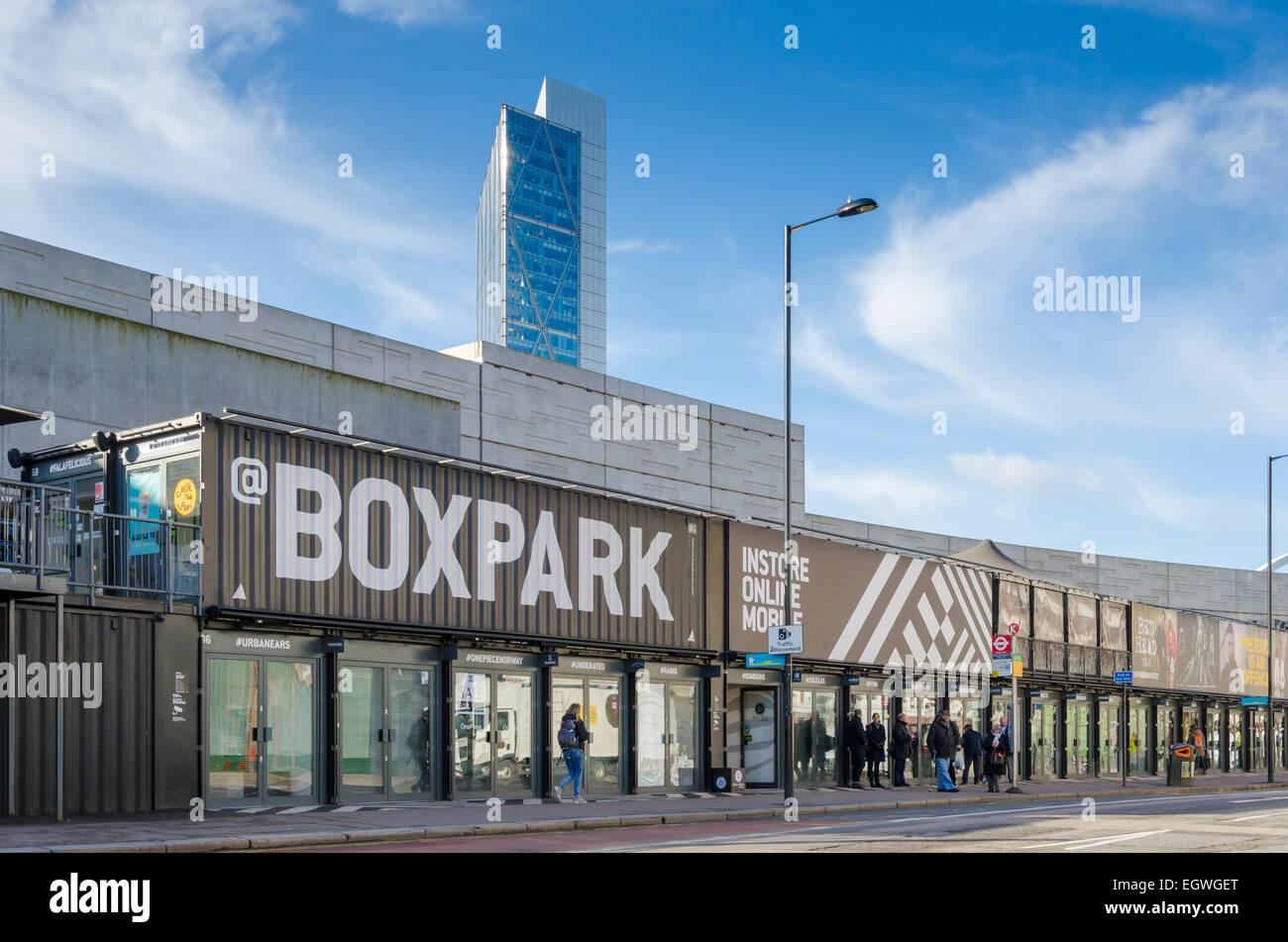 Boxpark, east London, UK - Stock Image