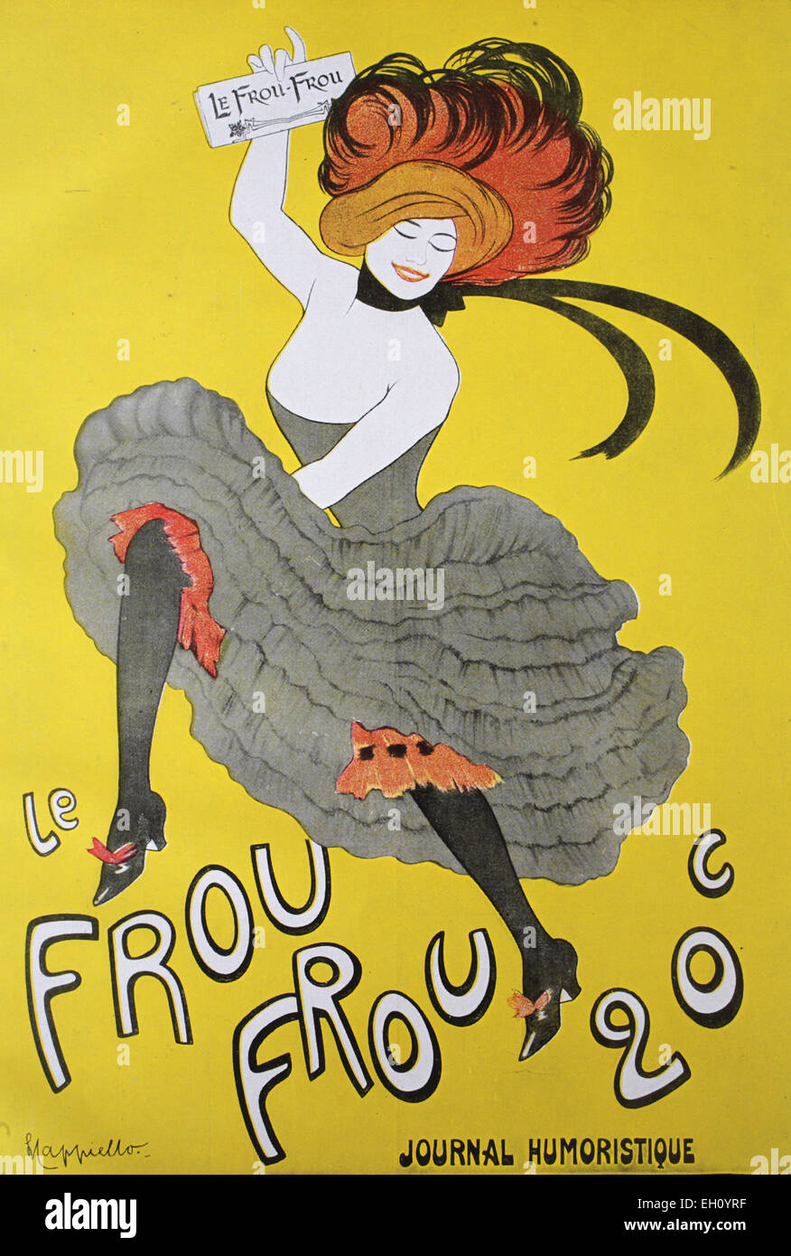 'Historic advertising poster for the French newspaper ''Frou - Frou'' by Capiello, circa 1880' - Stock Image